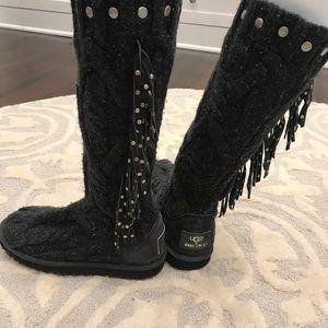 Jimmy choo for ugg knit fringe boots
